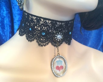 Lace choker antique gold heart crown rhinestone oval pendant pearl flower with blue crystals accents