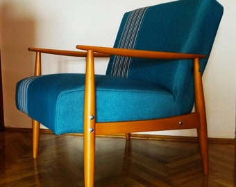 "Both sides striped ""Blue Quince"" mid century vintage chairs"