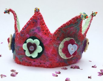Hearts and Flowers Crown - Waldorf inspired - Recycled Felt