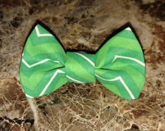 Mister Bowtie - Kitty Bowtie Co. - Green & White Chevron Bowtie