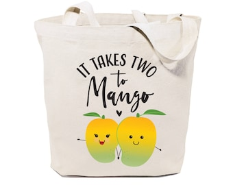 It Takes Two to Mango Cotton Canvas Reusable Grocery Bag and Farmers Market Tote Bag, Food Pun, Shopping, Cute Funny Gifts, Valentine's Day