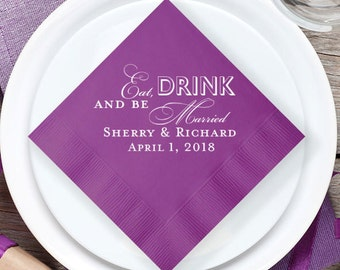 100 pcs Eat Drink and Be Married Personalized Wedding Napkins