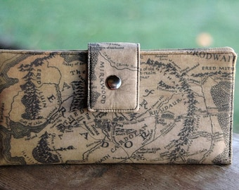 Lord of the rings handmade cotton custom clutch middle earth women's wallet, bookworm gift, bookworm for her, geek gift, reader gift