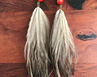 Feather earrings/ Emu feathers/ Amazonian beads/ Gypsy earrings/Bohemian