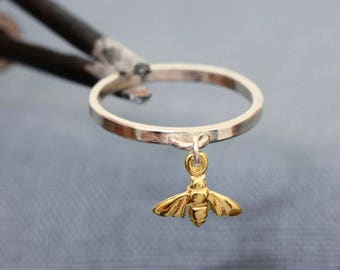 Bee Ring, Tiny Bee Ring, Gold Bee Ring, Silver Bee Ring, Charm Bee Ring, The Swarming Bee Ring
