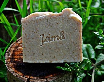 Jabón de Avena y Miel - jabón artesano, jabón natural, ideal pieles y bebés, muy emoliente y nutritivo, ligeramente exfoliante.