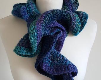 Handmade Crochet Twirly Scarf, Twisted Scarf, Crochet Scarf, Frilly Scarf
