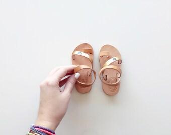 Handpainted Evil Eye Sandals - Child Greek Summer Leather criss cross strap Sandals