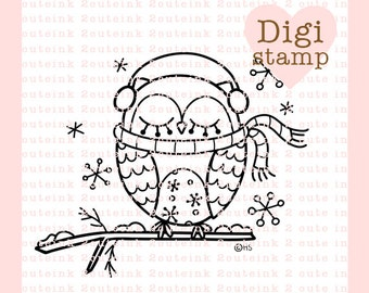 Snowflake Owl Digital Stamp for Card Making, Paper Crafts, Scrapbooking, Hand Embroidery, Invitations, Stickers, Cookie Decorating