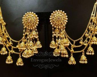 Bahubali earrings, Indian Jhumka set with ear chains, Indian ear chain, Devsena  earrings, Bollywood jewelry,  South Indian jewelry, Saharay