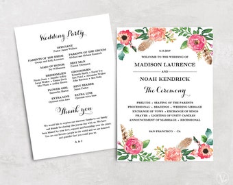 Floral Wedding Program Template Printable Programs Diy Instant Download Editable Text 5x7 Peony