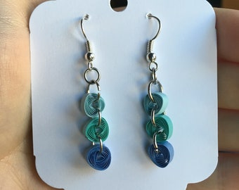 Blue Quilled Ombre Earrings
