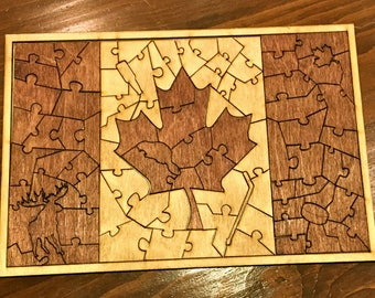 Wooden Puzzle - Canadian Flag