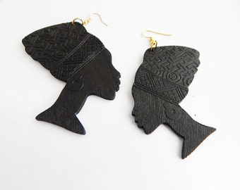 Black Earrings African Queen Silhouette Earrings Wooden