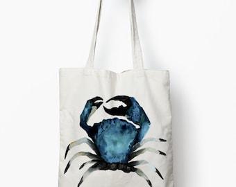 Blue Crab beach bag, canvas tote bag, Nautical tote bag