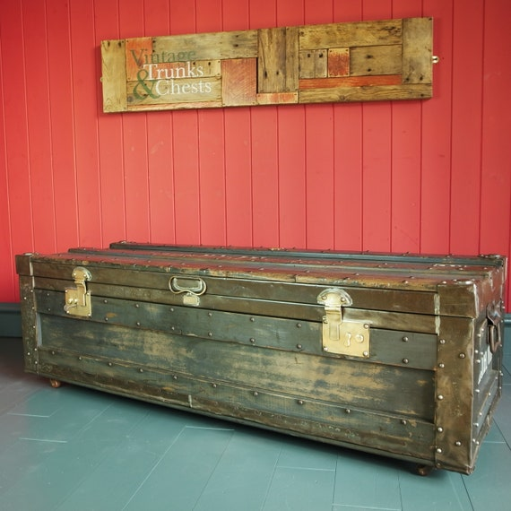 VINTAGE INDUSTRIAL CHEST Storage Trunk Coffee Table Military Naval Footlocker Ww2 Campaign Chest by Gieves