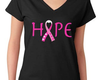 Breast Cancer Awareness Hope Survivor Pink Ribbon Women's V-Neck T-Shirt