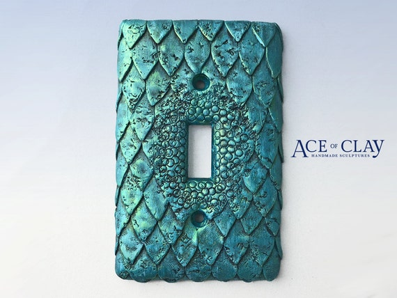 Mermaid fish scale light switch cover sculpey unique wall for Mermaid bathroom decoration ideas