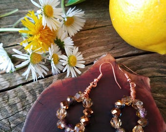 Fun earrings with faceted glass beads in rich earth tones