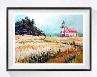 Lighthouse Art Lighthouse Print Giclee Beach wall art Seaside painting Watercolor seascape Impressionism watercolor WatercolorByMureN A