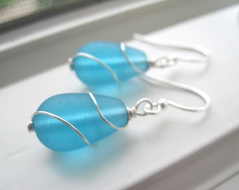 Wire Wrapped Earrings -Blue Bridesmaid Set - Recycled Glass Earrings - Blue Jewelry - Cultured Sea Glass - Teardrop Jewelry