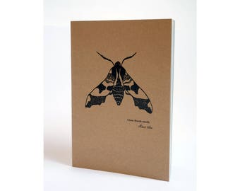 A5 Notebook - Lime Hawk-moth print Notebook, A5 Sketchbook Notepad, Kraft notebook.