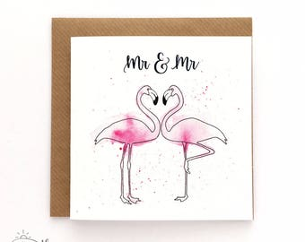 Mr and Mr card - Groom and Groom card - Gay wedding card - Flamingo card - Hand-lettered - watercolour