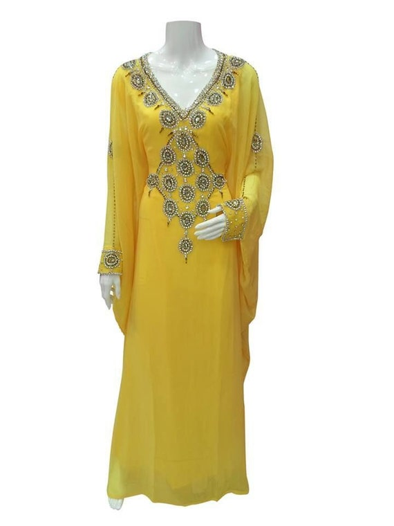 New Wedding Two Embellished Piece Kaftan Caftan Silk 100 Dress Georgette rR8rS