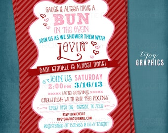 Shower them with Lovin. Bun in the Oven Couple's Baby Shower Invite by Tipsy Graphics. Any colors