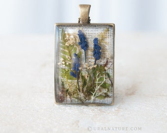 One-of-a-kind rectangle necklace | Real Flowers jewelry | Floral necklace | UralNature handmade necklace | Flowers art jewelry for her