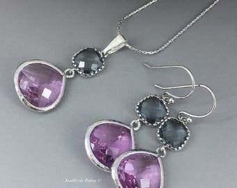 Bridesmaid Jewelry Silver Necklace Bridesmaid Gift Purple and Grey Earrings Maid of Honor Gift Mother of Groom Gift Mother of Bride Gift