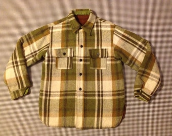 1970's, wooly, fisherman, fleece lined, shirt/jacket, in olive plaid, Men's size Small