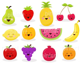 Cute Fruit Set / Royalty Free Vector Art / Instant Download