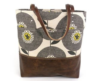 Floral Tote Bag, Leather Bottom and Straps, Skinny laMinx purse, Sunflower print bag, Knitter Gift, Market bag, knitting tote, Gift for her