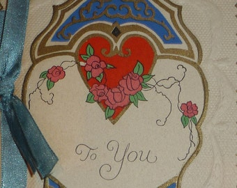 1920s Art Deco Valentine Card - Heart, Roses, Ribbon UNUSED