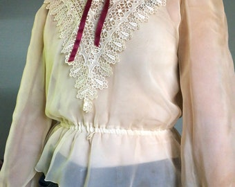 Vintage Victorian and Lace High Neck Top sz: small