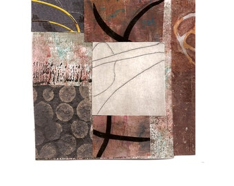 """Microcosm - Original Collage with Weathered and Hand Drawn and Painted Papers 4 x 4 on 5 x 5"""" Backing"""