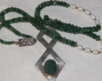 Sterling Silver Necklace With Emeralds And Freshwater Pearls