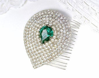 Old Hollywood Glam Emerald Bridal Hair Comb OR Dress Sash Brooch, Green Rhinestone Vintage Art Deco Silver Wedding Headpiece, Flapper Gatsby