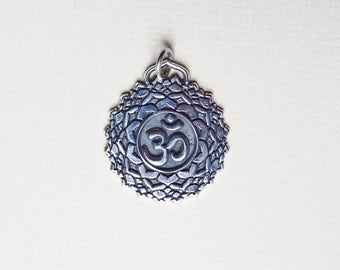 Lotus pendant etsy sterling silver om lotus pendant yoga pendant yoga intention jewelry mantra sacred lotus flower pendant mexican silver 925 mozeypictures Choice Image