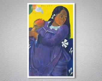 Woman with a Mango by Paul Gauguin - Poster Paper, Sticker or Canvas Print / Gift Idea