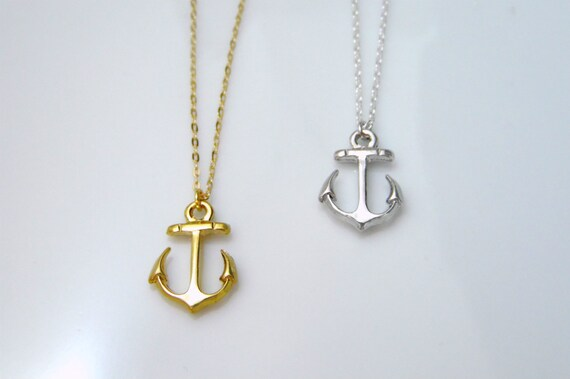 Gold anchor necklace silver anchor necklace anchor pendant aloadofball Image collections