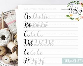 Hand lettering guide, Brush lettering, worksheets lettering practice, wedding calligraphy tutorial learn calligraphy brush alphabet 02