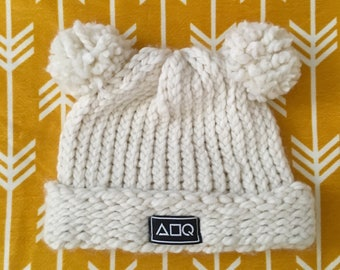 Double Pom White Knitted Hat