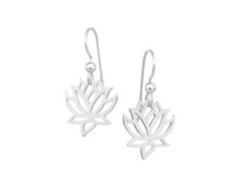 Lotus Flower Earrings, Sterling Silver, Yoga Jewelry, Lotus Earrings, Flower Earrings, Gifts for Yogis, Ready to Ship