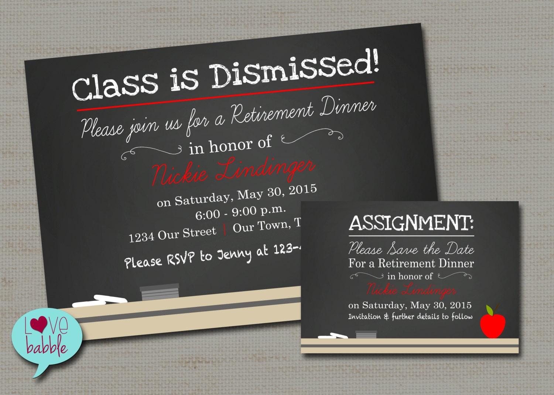 Finest Chalkboard Teacher School Retirement Party Invitation Save ML42