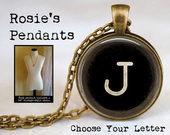 PERSONALIZED Vintage Typewriter Key Image Initial or Number Jewelry - Choose your Initial - Monogram Necklace - Typewriter Key Pendant