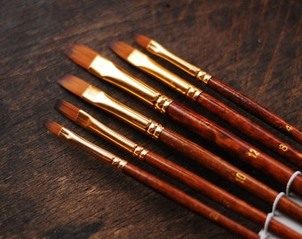 Set of  6 flat  paint brushes  - sizes  2, 4, 6, 8, 10, 12 made out of pony hair - watercolor brushes - artist oil paint painting brush set