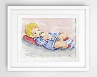 Watercolor Art Print 8x10 of an original watercolor Käthe Kruse doll