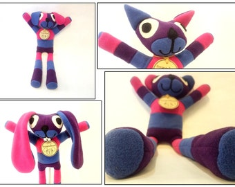 Up-cycled,Fleece,Stuffed Animals,Pink,Marine,Purple,plushie,Bunny,Puppy,Cat,Bear,Easter